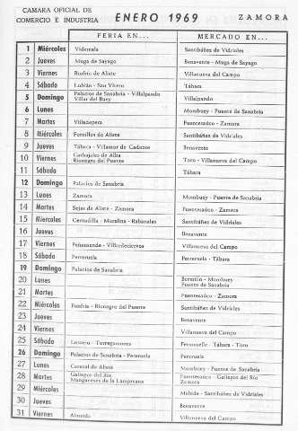 Calendario Del Ano 1969.Biblioteca Digital De Castilla Y Leon Calendario De Ferias